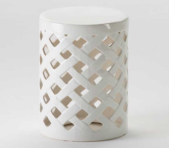 Taburete bajo chino cerámica blanco