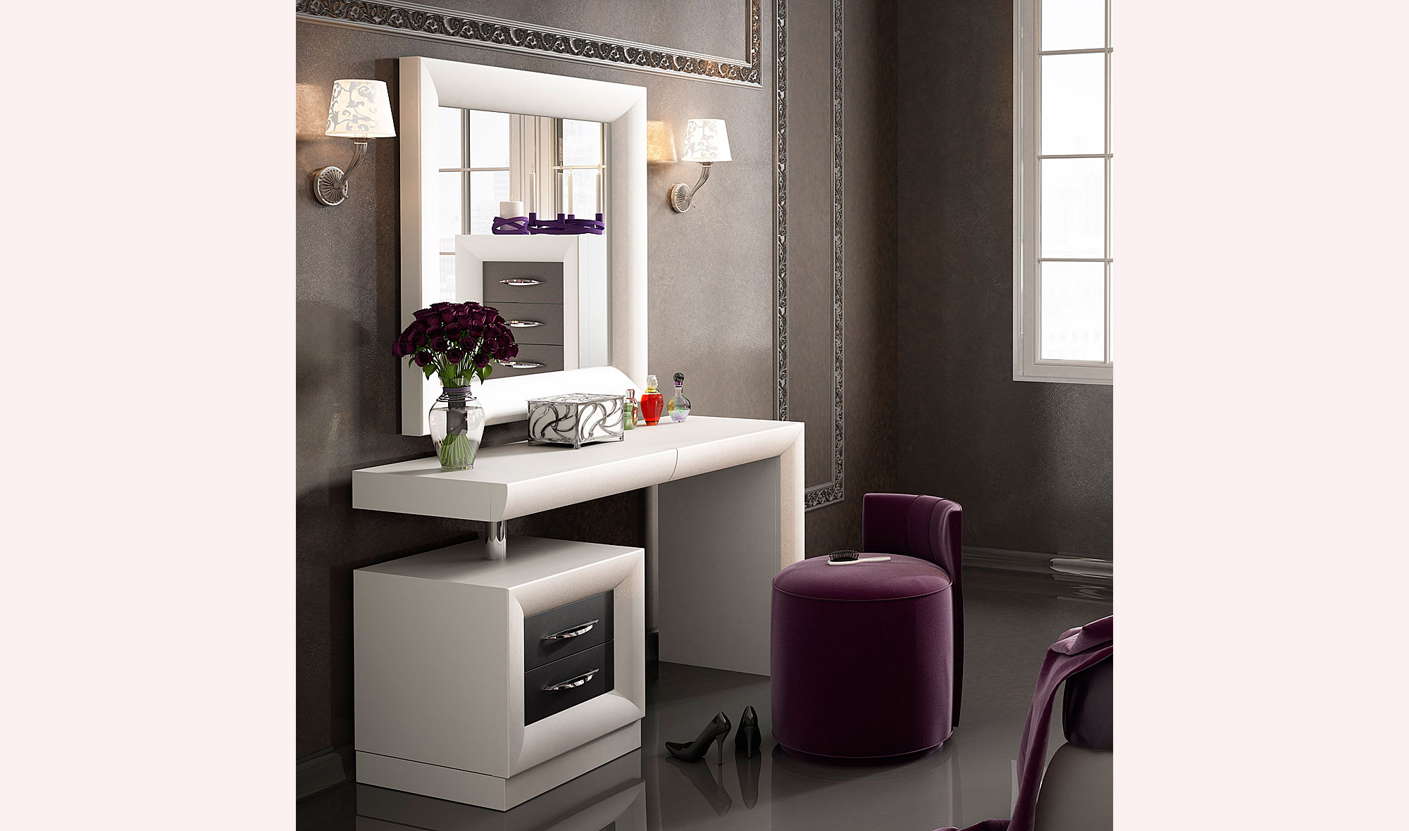 Tocador moderno bella viola no disponible en for Mueble tocador