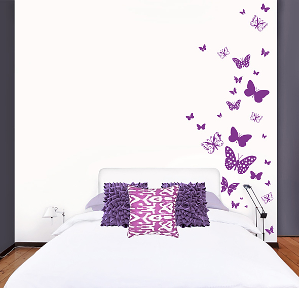 Vinilo butterflies en for Vinilos pared recibidor