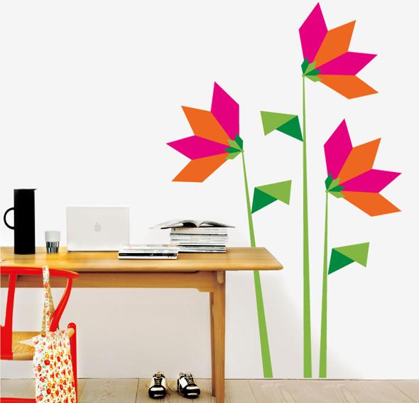Vinilo origami flowers