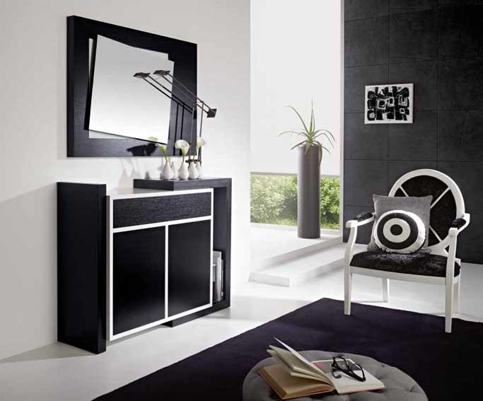 Zapatero y espejo sari negro blanco ii no disponible en - Muebles blanco y negro ...
