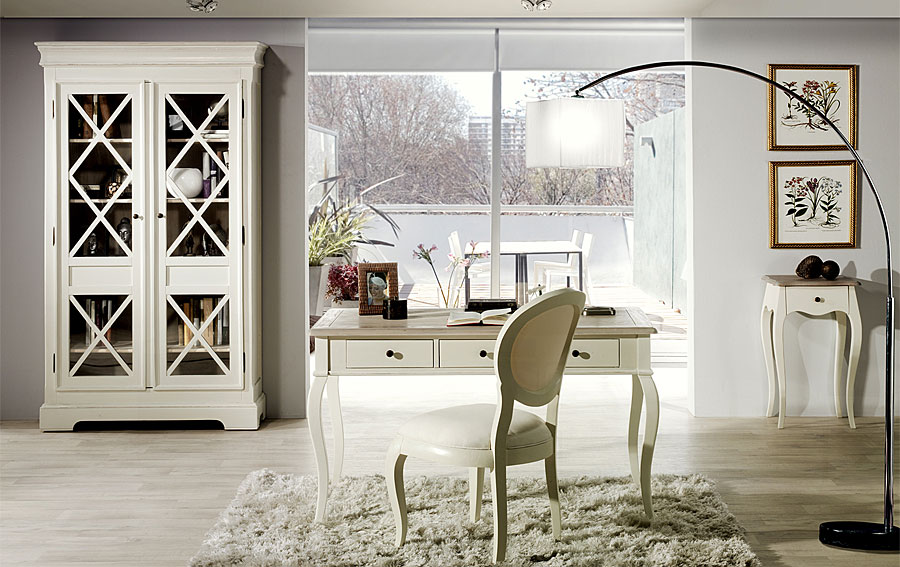 Vitrina blanco roto roble no disponible en for Muebles salon colonial blanco