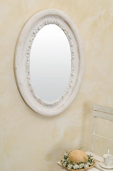 Espejo ovalado blanco maine no disponible en for Espejo ovalado blanco