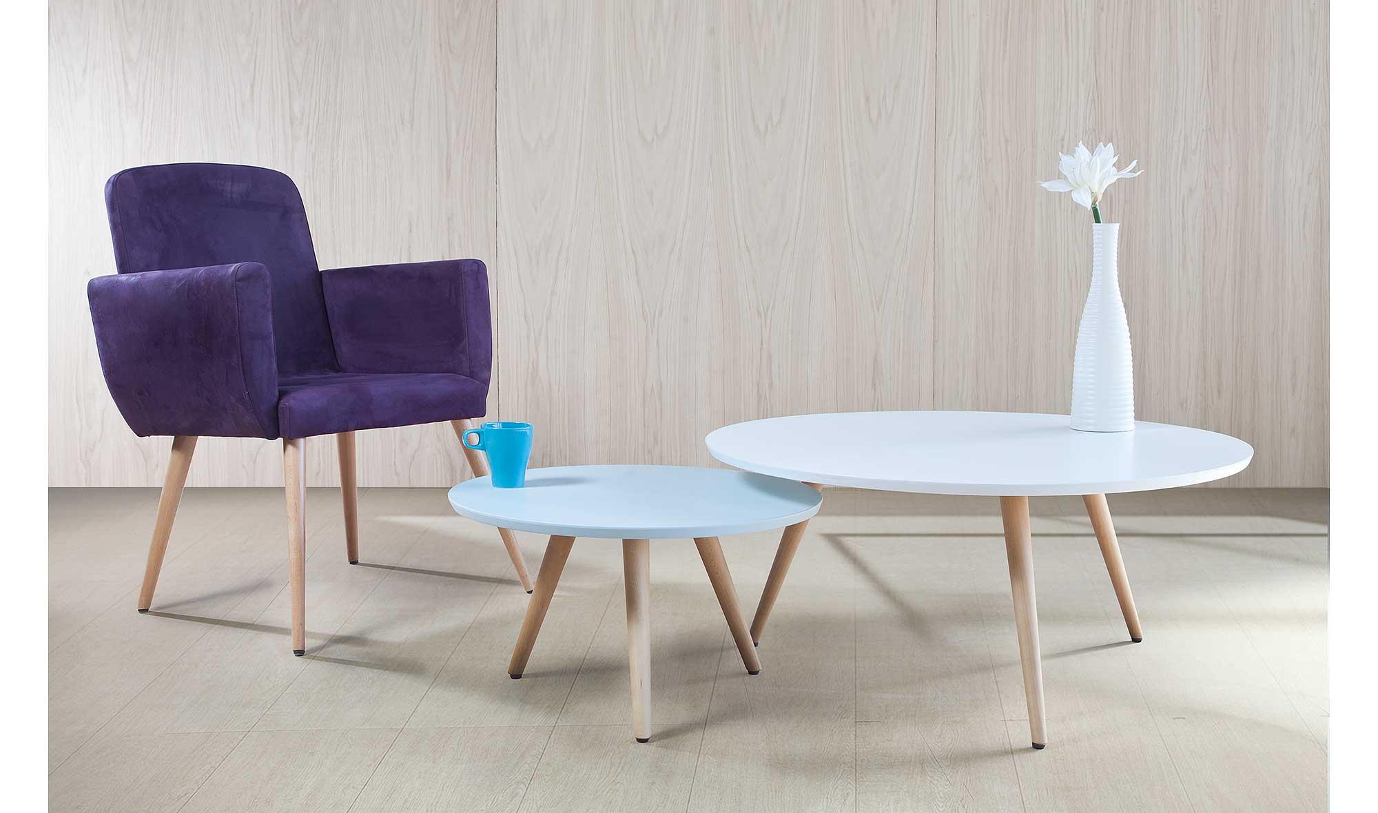Mesas de centro nido luna en for Mesas de salon blancas
