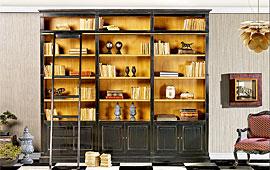 Libreria clásica con escalera 3 cajones
