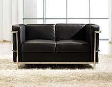 Sofá moderno piel sintética negra Parma