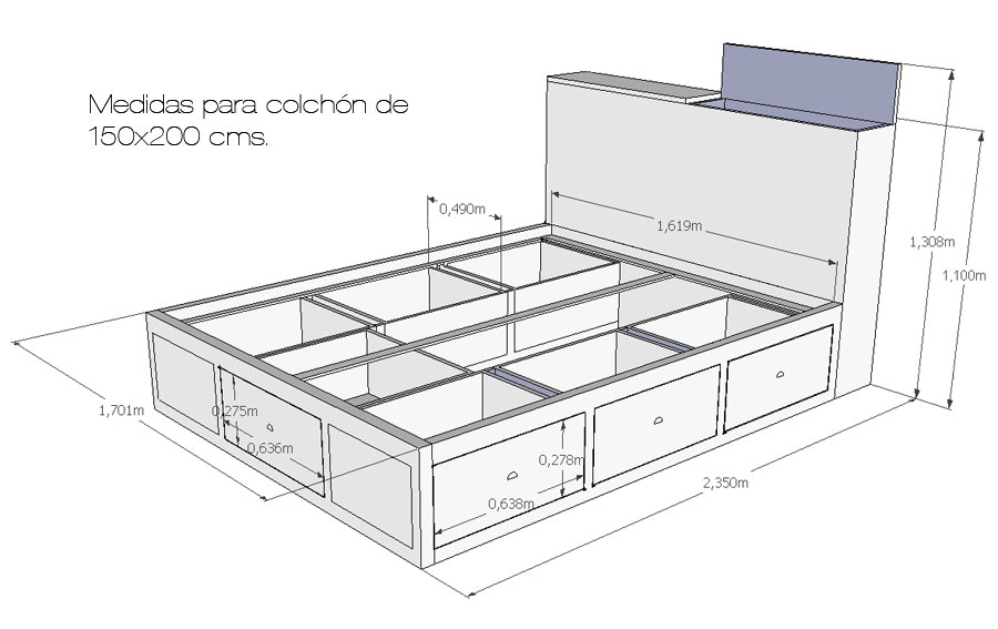Cama de madera con cajones chianti en cosas de for Base cama individual con cajones