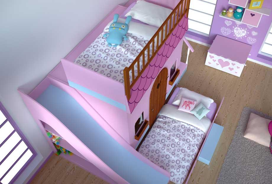 Dormitorio infantil casita tobog n en cosas de - Cama con tobogan ...