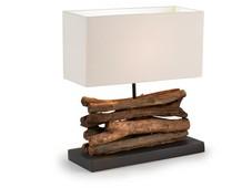 SAHAI LAMPARA DE MESA MADERA TROPICAL PANTALLA BLANCA FN39 - Lámparas de Sobremesa - Objetos de Decoración