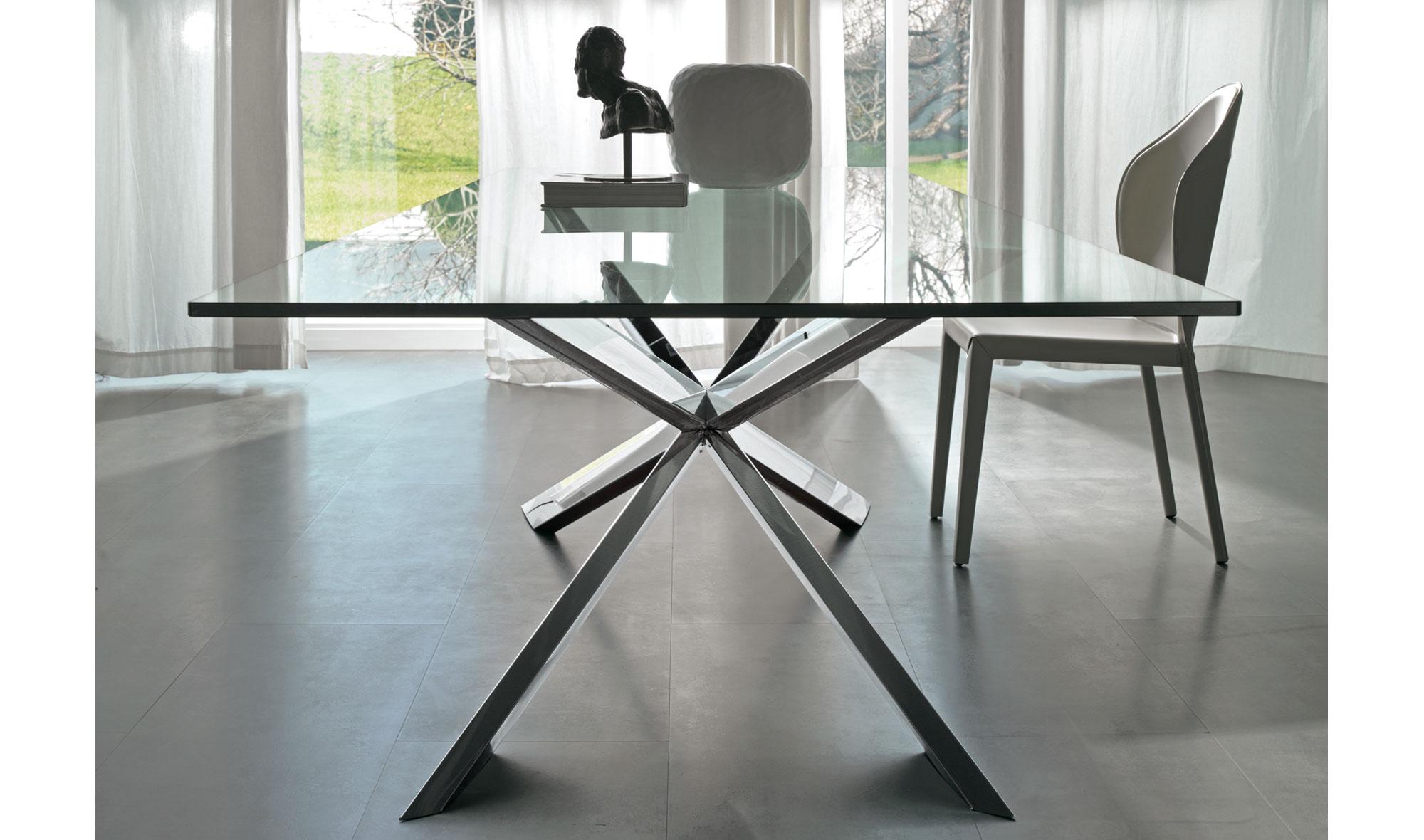 mesas comedor cristal y madera