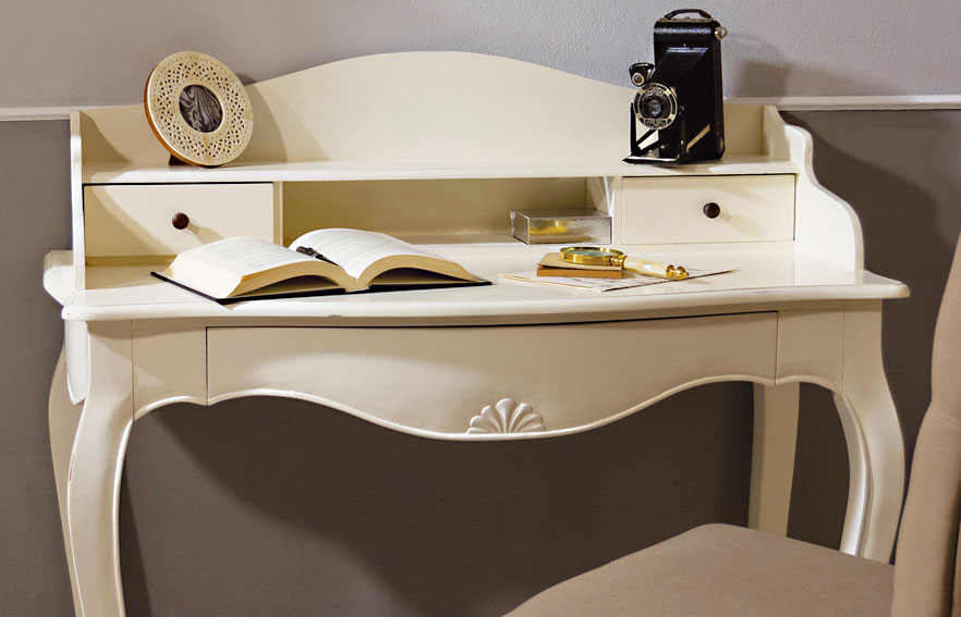 Mesa de escritorio blanca vintage par s en cosas de - Escritorio vintage ...