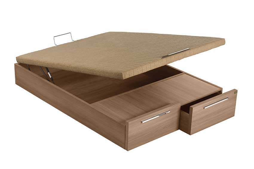 Canap abatible madera 2 cajones en for Canape abatible