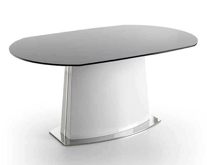 Mesa extensible de cristal quest blanca no disponible en for Mesa comedor ovalada cristal