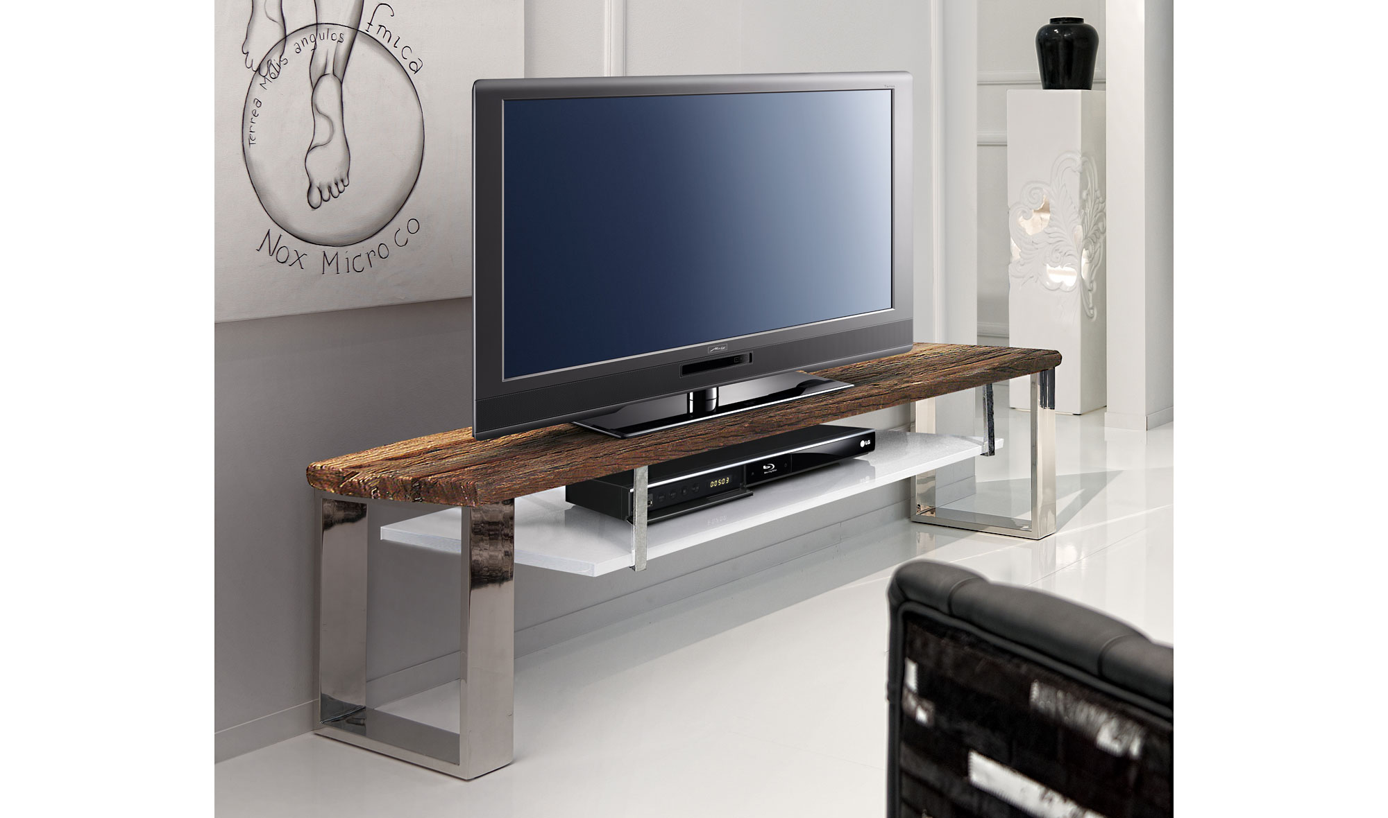Mueble tv con estante moderno seducti en for Mueble tv moderno