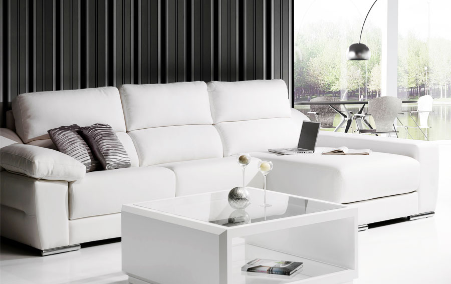Sofa diamond chaise longue piel blanca en cosas de for Sillones salon diseno
