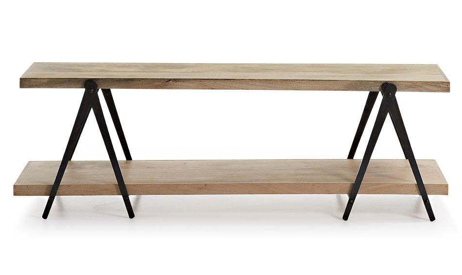 Mueble de tv industrial erutna negro y madera en cosas de for Mueble vintage industrial