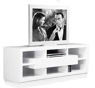 Mueble de tv 2 cajones blanco for Mueble para tv blanco