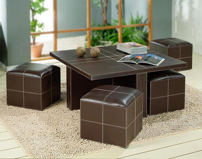 Mesa de centro polipiel 4 taburetes no disponible en for Mesa cocina con taburetes
