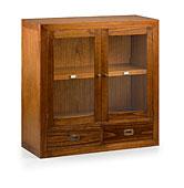 Vitrina Combi 2 puertas 2 cajones - Vitrinas Coloniales y Rústicas - Muebles Coloniales y Muebles Rústicos