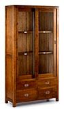 Vitrina 2 puertas correderas 4 cajones - Vitrinas Coloniales y Rústicas - Muebles Coloniales y Muebles Rústicos