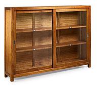 Vitrina 2 puertas correderas / 2 estantes - Vitrinas Coloniales y Rústicas - Muebles Coloniales y Muebles Rústicos