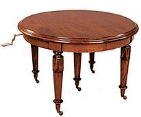 Mesa de Comedor Madera Victoriana redonda 5 patas extens
