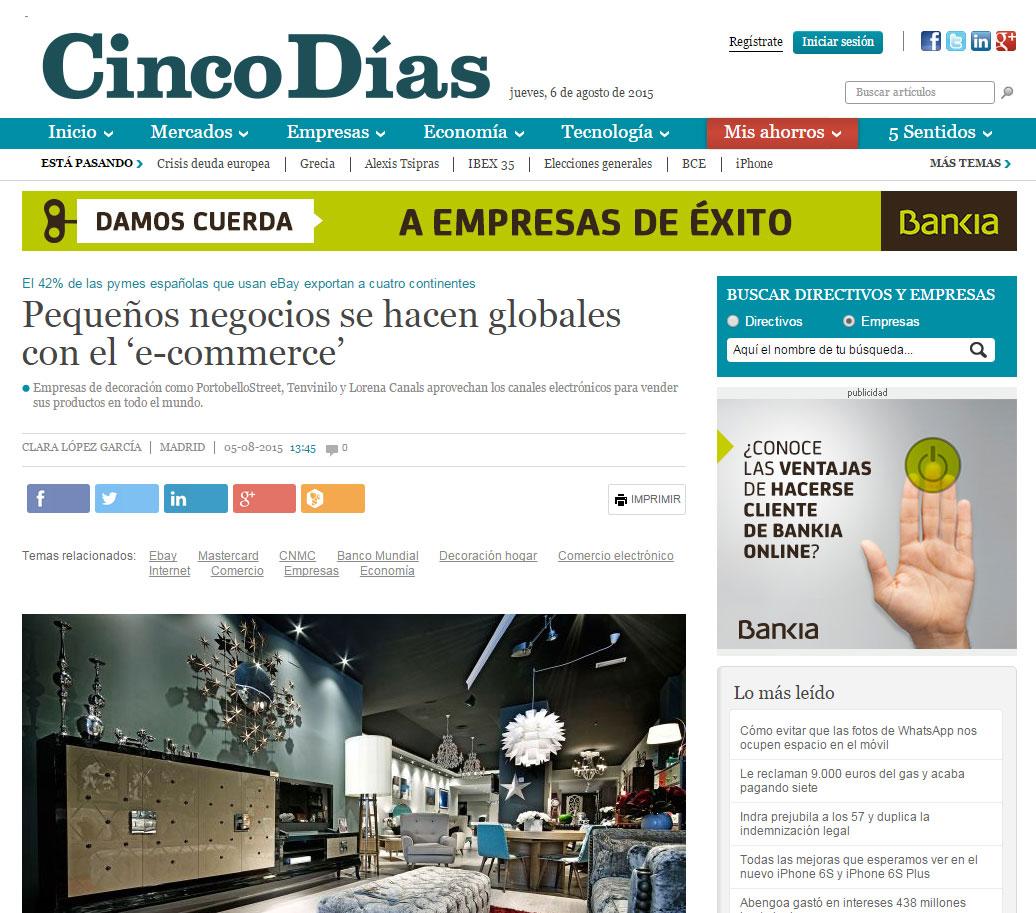 Diario Cinco Días Pequeños negocios se hacen globales con el 'e-commerce'