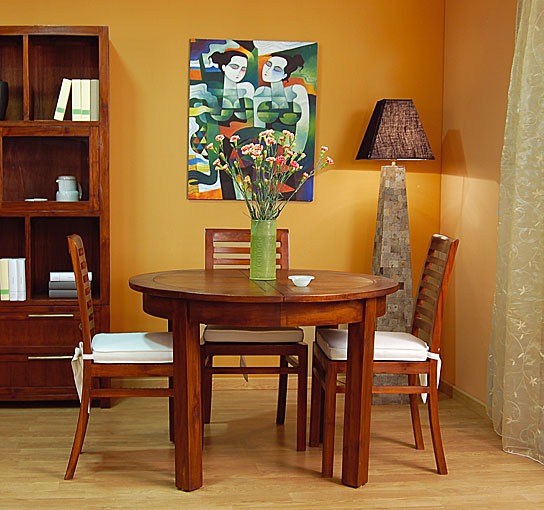 Mesa redonda extensible colonial kaylee en for Mesas de cocina redondas extensibles