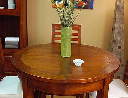 Mesa de Comedor Madera redonda extensible colonial Kaylee de lujo en ...