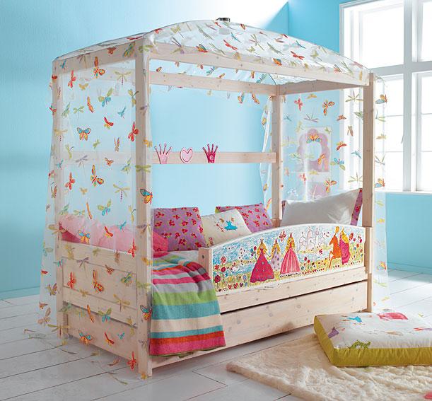 Cama princess con dosel mariposas y cama nido no - Cama nido 3 camas ...