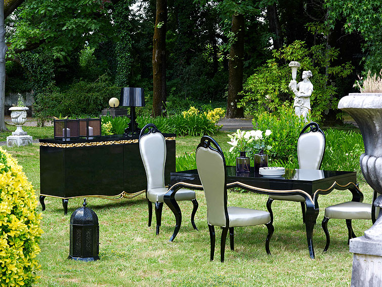 Comedor vintage negro y dorado no disponible en for Muebles de comedor vintage
