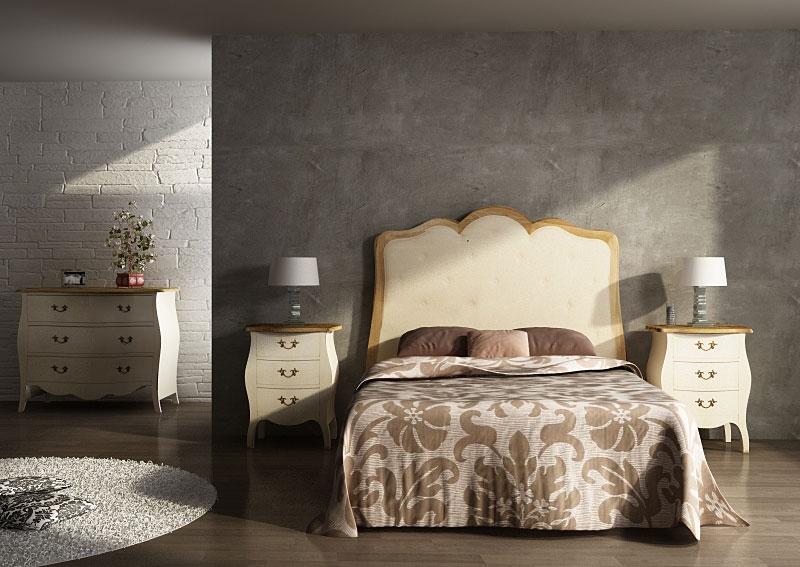 Cabecero louis tapizado en roble y blanco roto no - Cabecero tapizado blanco ...