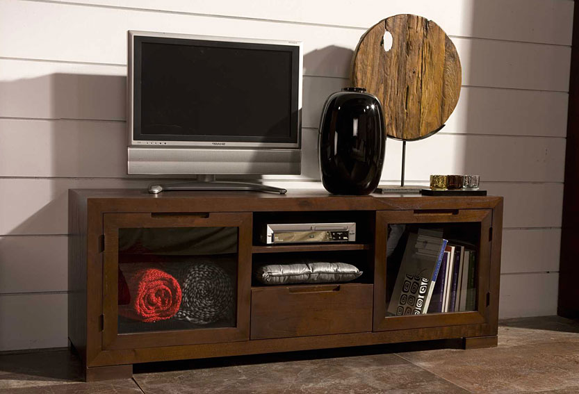 Mueble de tv puertas cristal elo no disponible en - Muebles para tv madera ...