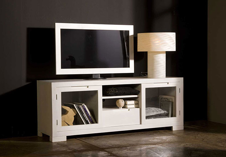 Mueble de tv lacado en blanco elba no disponible en for Mueble tv lacado blanco