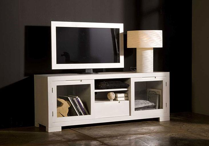 Mueble de tv lacado en blanco elba no disponible en for Mueble tv lacado blanco
