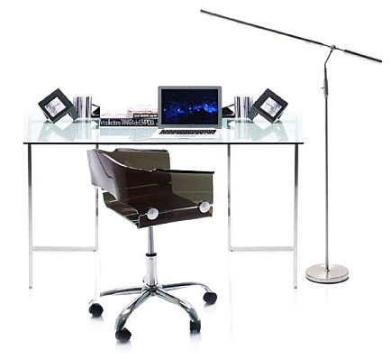 Mesa de escritorio acero inoxidable y cristal no for Mesa cristal ikea escritorio
