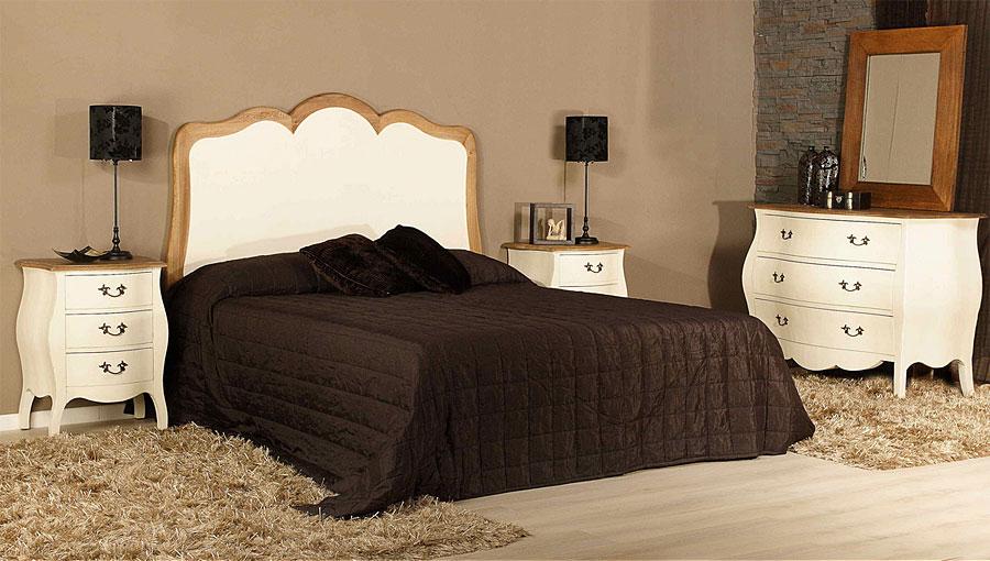 Cabecero louis en blanco roto y roble no disponible en for Muebles dormitorio blanco y roble