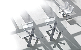 Mesa comedor cristal y acero Twins Resort