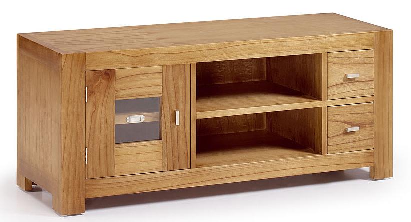 Mueble tv colonial 2 cajones 1 puerta en for Natura muebles