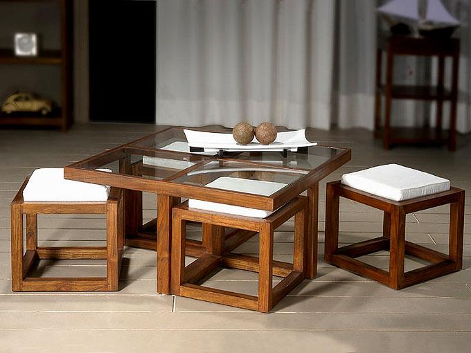 Mesa de centro teca 4 taburetes no disponible en - Mesa de teca ...