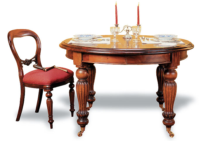 Mesa de comedor victoriana circular extensible de manivela for Mesa circular extensible