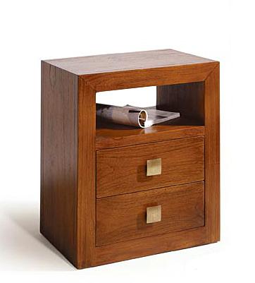 Mesa de noche 2 cajones colonial sunkai no disponible en - Mesita de noche madera ...