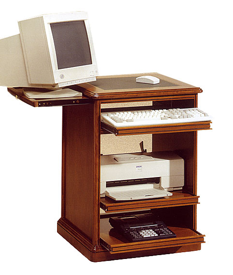 Mesa de ordenador estrecha cl sica en for Muebles ordenador para salon