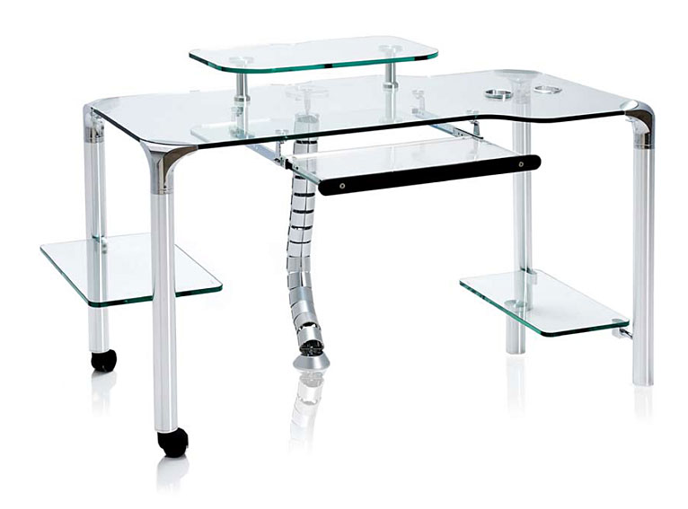 Mesa de ordenador cristal y acero inox no disponible en for Muebles de ordenador