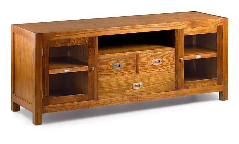 Mueble tv 3 cajones colonial star 2 puertas en for Muebles con cajones de madera