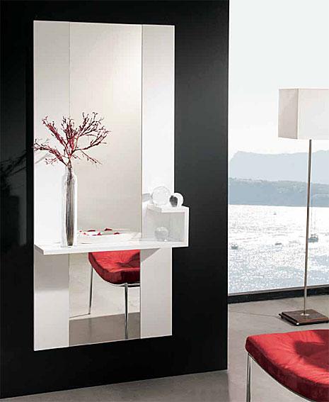 Recibidor con espejo moderno phoenix en for Mueble recibidor madera