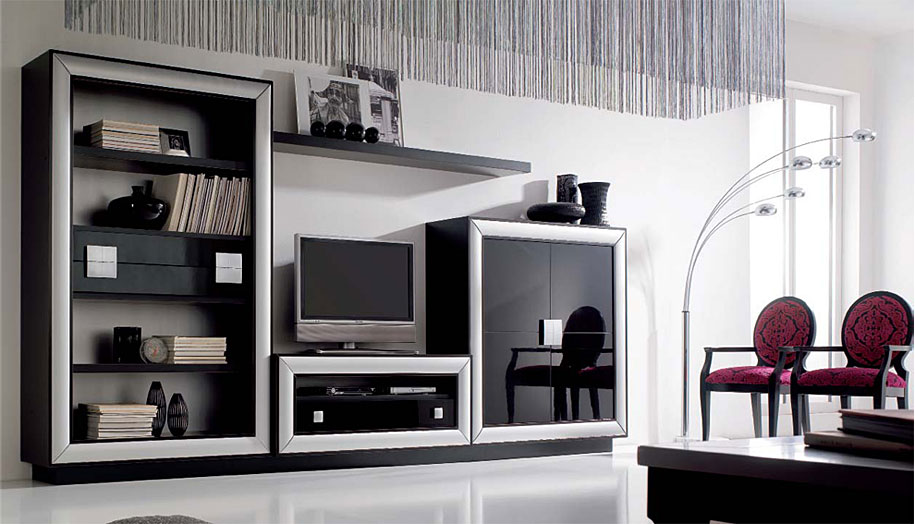 Librer a mueble tv y vitrina berl n no disponible en for Mueble vitrina salon moderno