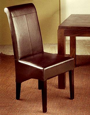 Silla ecopiel chocolate madera de palisandro y piel for Palisandro muebles