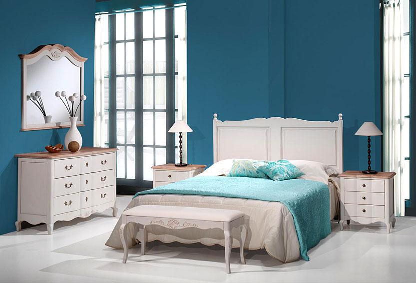 Dormitorio vintage avignon en - Color turquesa en paredes ...