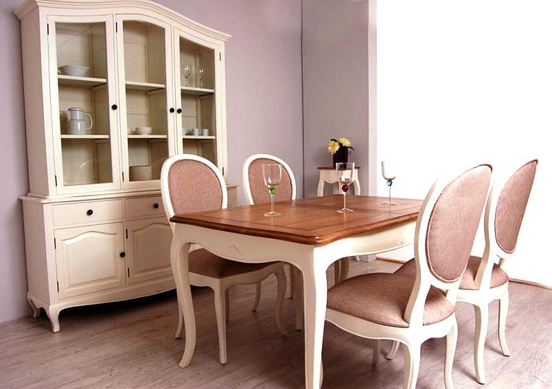 mesa de comedor extensible blanca vintage par s en On comedor frances